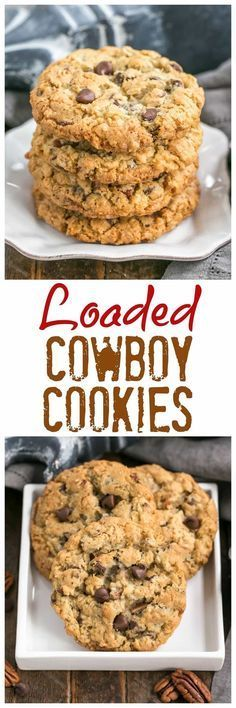 Loaded Cowboy Cookies Recipe - Chewy, buttery cookies with oats, chocolate chips, pecans and coconut Buttery Cookies, Galletas Cookies, Oatmeal Cookies, Yummy Cookies, Chip Cookies, Oatmeal Biscuits, Pecan Cookies, Coconut Cookies, Easy Cookie Recipes