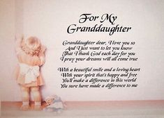 a Personalised Poem for Granddaughter - Laminated Gift - 8 X / Grandkids Quotes, Quotes About Grandchildren, Family Quotes, Life Quotes, Hug Quotes, Pomes, Grandmother Quotes, Poems For Grandma, Quilt Labels