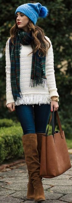 Sequins & Things | Plaid Scarf + Fringe Hem Sweater #sequins