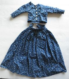 Antique 2 PC China doll Navy Blue Calico