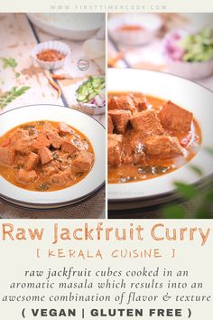 Here raw jackfruit cubes cooked in an aromatic masala which results in an awesome combination of flavor and texture. It is so easy and quick side dish. #SideDish #CoconutOil #KeralaCuisine #Coconut #Jackfruit #Glutenfree #Vegan #IndianCurry #Vegetarian #SummerVeggie #jackfruitcurry #RawJackfruit Vegetarian Platter, Vegetarian Recipes Easy, Delicious Vegan Recipes, Indian Food Recipes, Asian Recipes, Curry Recipes, Easy Summer Meals, Easy Dinners, Jackfruit Curry
