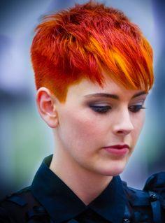 Red and orange pikie cut