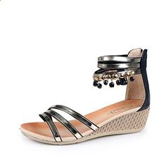 Fashion Road Women's Back Zip Wedges Low Heels Pumps Ankle Strap Sandals Summer Metallic Shoes Black US7.5. Check website for more description.