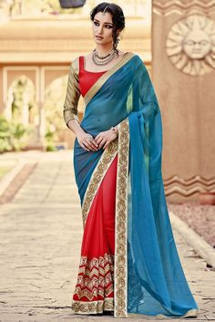 This blue and red color designer saree will enrich your ethnic look with its marvelous color combination and embroidery work. This designer saree is made from g