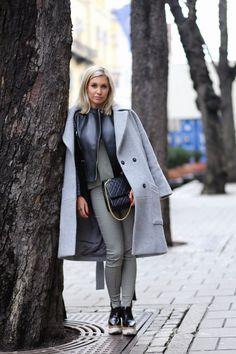 Pants and T-Shirt : Stella McCartney Leather jacket : Cèline Coat : fallwinterspringsummer Shoes : Stella McCartney Bag : Chanel