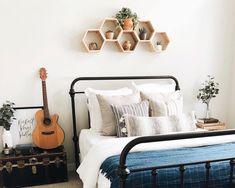 Set of 5 Medium Deep Hexagon Shelves, Honeycomb Shelves, Reclaimed Wood, Floating Shelves, Geometric Shelves Shelf Over Bed, Bed Shelves, Small Shelves, Hanging Shelves, Shelving, Honeycomb Shelves, Geometric Shelves, Hexagon Shelves, Living Room Decor