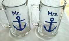 Mr. and Mrs. anchor mugs, 2 nautical themed beer mugs for bride and groom wedding, navy blue boat anchors on beer steins. $20.00, via Etsy.