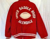 70s Mens Varsity Jacket High School Jacket Size 46 Sports Jacket Red Wool Jacket Athletic Jacket Old School Jacket High School Football