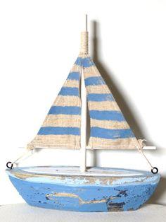 15+cm+x+19+cm+Deko+Holz+Segelboot+blau+weiß+natur
