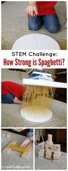 How strong is spaghetti? Challenge kids to invent a way to find out! This STEM challenge is a lot of fun, and you won't need much in the way of materials! Here are the materials we used: 1 package of spaghetti 2 sheets of styrofoam – purchased at Hobby Lobby Books Wooden blocks We started our...Read More »