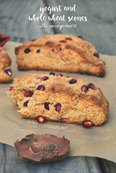 Tender and moist, these yogurt whole wheat scones are busting with ruby red pomegranate are wholesome and healthier twist on a classic breakfast treat. Breakfast Scones, Savory Breakfast, Brunch Recipes, Breakfast Recipes, Iran Food, Pomegranate Recipes, Healthy Cookies, Ruby Red, Yogurt