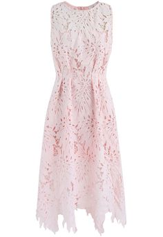 Vivid Leaf Sleeveless Crochet Dress in Pink - New Arrivals - Retro, Indie and Unique Fashion