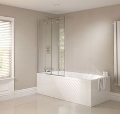 - Introducing the new Frameless Bath Screen of Prestige range from April Showers, which features 4 fold toughened safety glass panels. Bath Shower Screens, Shower Taps, Power Shower, Doors Online, Best Bath, Family Bathroom, Screen Design, Safety Glass, Bathroom Furniture