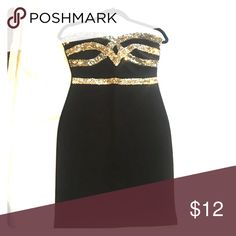 Dress Black and sparkly gold strapless bandage dress. Great for the holidays, worn once! Fashionomics Dresses Mini