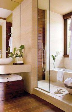 Arredare il bagno in stile orientale - Doccia con vasca da bagno