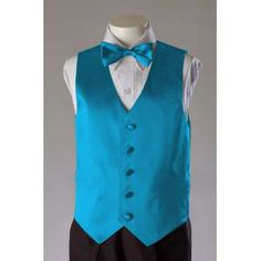 Boys Turquoise 2 Piece Satin Vest Set