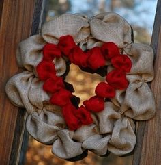 Burlap wreath with heart insert!  LOVE by Daphne Mosley