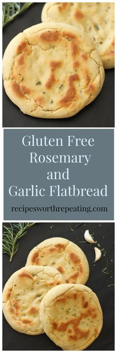 This Gluten Free and Yeast Free Flatbread Pitas is made with fresh Rosemary and Garlic. Perfect substitute for your every day bread and easy to make!