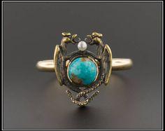 10 k gouden Griffin Ring | Turquoise Griffin of Dragon Ring | Antieke Pin conversie Ring | Antieke Stick Pin Ring | Turquoise Ring