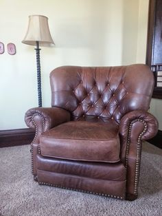 Leather Recliner with Nail Heads in aaALLHouseSale_worldwideitems' Garage Sale in Kenosha , WI for $250. chocolate brown. leather needs to be conditioned. non-smoker/no animals