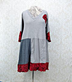 5X Womans Tunic,Upcycled Plus Size,Patchwork Top,Boho Clothing,Plus Size Top,Grey Tunic,Gray Top,Red Floral Applique,Tshirt Top,Repurposed by RepurposeCouture on Etsy