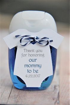Thank you for honoring our Mommy To Be personalized gift tag with blue and grey writing ~ Baby Shower Onesie Hand Sanitizer Thank You Gift Tags ~ Party Favor ~ Bath & Body Works ~ Pocketbak ~ www.KendollMade.com #babyshowerideas