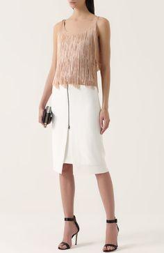 4314d6e8ad7 Женская белая юбка-карандаш с декоративной молнией Tom Ford