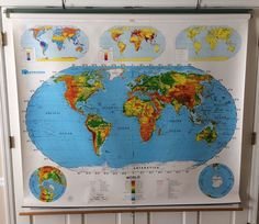 """This is a Nystrom 1SR991 pull down school map set. The first map is a world map and about 65"""" wide x 53"""" tall. The second is a USA map and about 65"""" wide x 69"""" tall. All pictures are of actual products. 