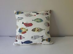 Items similar to Fish Pillow Cover Blue Fishing Pillow Cover Boys Cushion Cover MultiColour Fish Throw Pillow Toddler Decorative Pillow Case Nursary Pillow on Etsy Baby Pillows, Kids Pillows, Throw Pillows, Colorful Pillows, Pillow Cases, Cushions, Fish, Unique Jewelry, Handmade Gifts