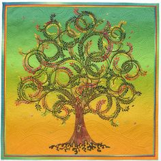 My finest needle turn applique quilt with branches as narrow as 1/16th of an inch and leaves as tiny as a rice grain. It won 1st place innovative applique in 2006 Houston Quilt Festival.
