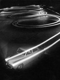 Robert Doisneau's long exposure of a car at night, 1954 (via loekyfiret)