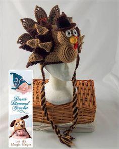 Holidurkey Turkey Hat #crochetpattern from Desert Diamond Crochet Great for the Thanksgiving Holiday