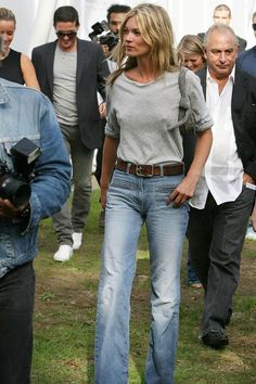"September 2006    She kick-started the high-waisted jeans craze when she joined Sir Philip Green at the Topshop Unique spring/summer 2007 show in London's Holland Park. Soon after her appearance at the show, Topshop announced a collaboration with the supermodel.     ""I think they [Topshop] kind of copy me sometimes,"" said Moss of the partnership. ""So I said: 'I could give you my stamp and you could get it direct.'"""