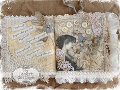 Love this page of the lace book and how she printed the words onto fabric.