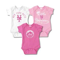 New York Mets Infant Girls Baby Rib Pink Creeper 3-Pack