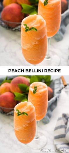 Best Peach Bellinis Cocktails Recipe - No need to wait for the peach season you can enjoy a Peach Bellini any time of the year with frozen - Peach Drinks, Brunch Drinks, Fun Cocktails, Cocktail Drinks, Drinks With Peach Schnapps, Peach Alcohol Drinks, Mojito Alcohol, Bellini Cocktail, Booze Drink