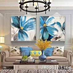 Original Abstract art blue Flower Acrylic Paintings On Canvas Extra Large Floral blue painting Wall Oil Painting Flowers, Blue Painting, Acrylic Painting Canvas, Watercolor Painting, Arte Judaica, Art Blue, Extra Large Wall Art, Wall Art Pictures, Painting Pictures
