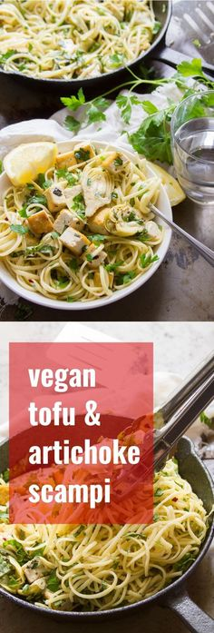 You don't need seafood to make this scrumptious classic pasta dinner! Pan-seared artichoke hearts, crispy tofu and tender linguine pasta are dressed in a lemon, garlic and white wine sauce to create this zingy and satisfying vegan scampi. #vegan #veganrecipe #vegetarian #vegetarianrecipes #tofu #meatlessmonday