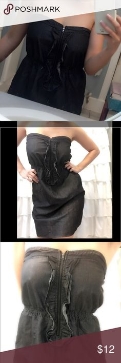 Dark denim dress Perfect condition. Denim dress strapless with a zipper and ruffles Dresses Mini
