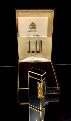 100 % AUTHENTIC  DUNHILL LIGHTER - BLACK CHINA LACQURE WITH GOLD TRIM ~ TUXEDO STYLE  PLEASE SEE ALL PICTURES AS THEY ARE PART OF THE