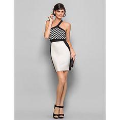 Sheath/Column One Shoulder Short/Mini Silk Bandage Dress – USD $ 89.99