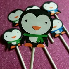 Check out this item in my Etsy shop https://www.etsy.com/listing/219385622/12-adorable-penguin-cupcake-toppers