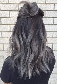 Balayage Clip in Remy Human Hair Extensions #1b/grey grey hair extensions human hair straight grey hair extensions human hair clip in grey hair extensions clip in Balayage Clip in Remy Human Hair Extensions #1b/grey