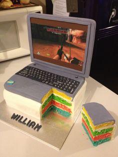 Laptop rainbow layer cake