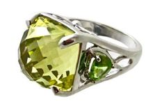 Huge Oro Verde Gold Green Quartz Peridot Ring Sterling Silver Great Setting | eBay