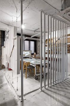 studio starsis models its latest office space in seoul like a construction site – Cool Office Space Industrial Office Space, Cool Office Space, Workspace Design, Office Interior Design, Space Interiors, Office Interiors, Site Office, Co Working, Coffee Design