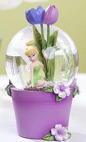Disney Tinker Bell tulip flower pot Snowglobe