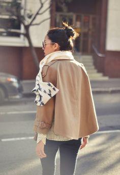 print top, neutral jacket, print scarf