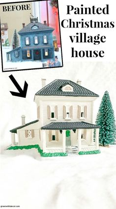 This cute painted Christmas village house looks SO good with white, blue and tan paint! What a fun, easy Christmas DIY with an old village piece you can find at the thrift store! Click through for the easy DIY tutorial! Shabby Chic Christmas, Simple Christmas, Christmas Diy, Christmas Mantles, White Christmas, Christmas Trees, Easy Christmas Decorations, Vintage Christmas Ornaments, Victorian Christmas