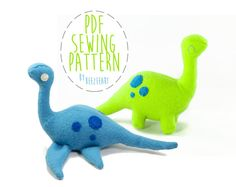 Dinosaur and Loch Ness Monster Stuffed Animal Plush Toy Sewing Pattern on Etsy, $7.00